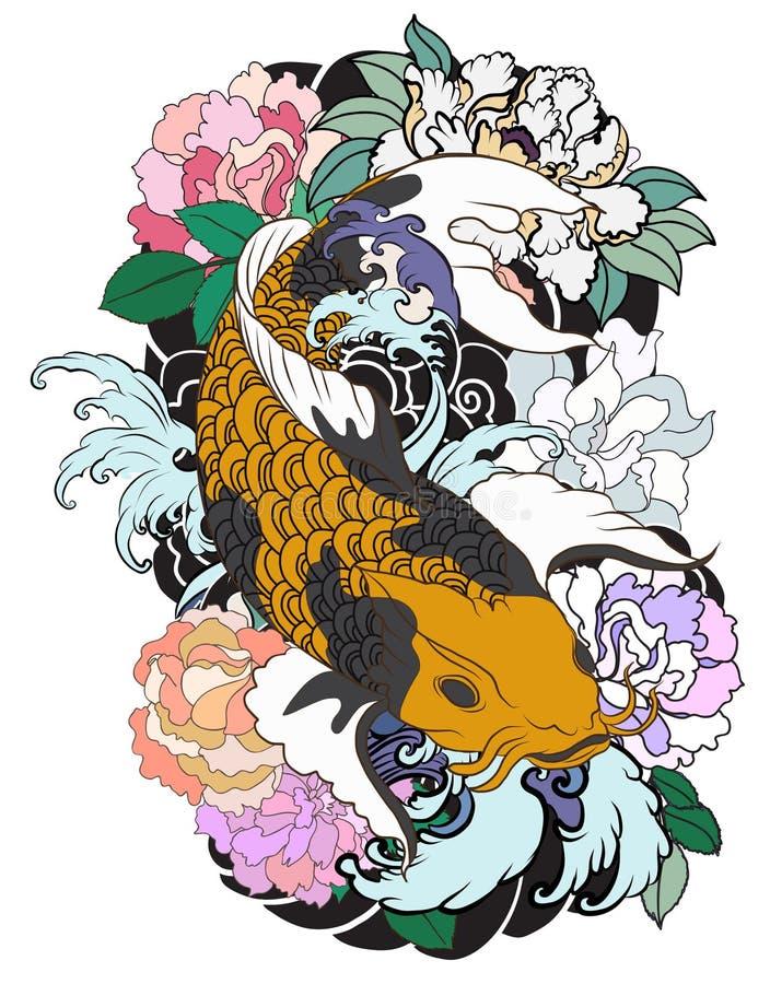 Schöner, bunter Karpfen mit Wasserspritzen, Lotos und Pfingstrose blühen Traditionelles japanisches Tätowierungsdesign lizenzfreie abbildung