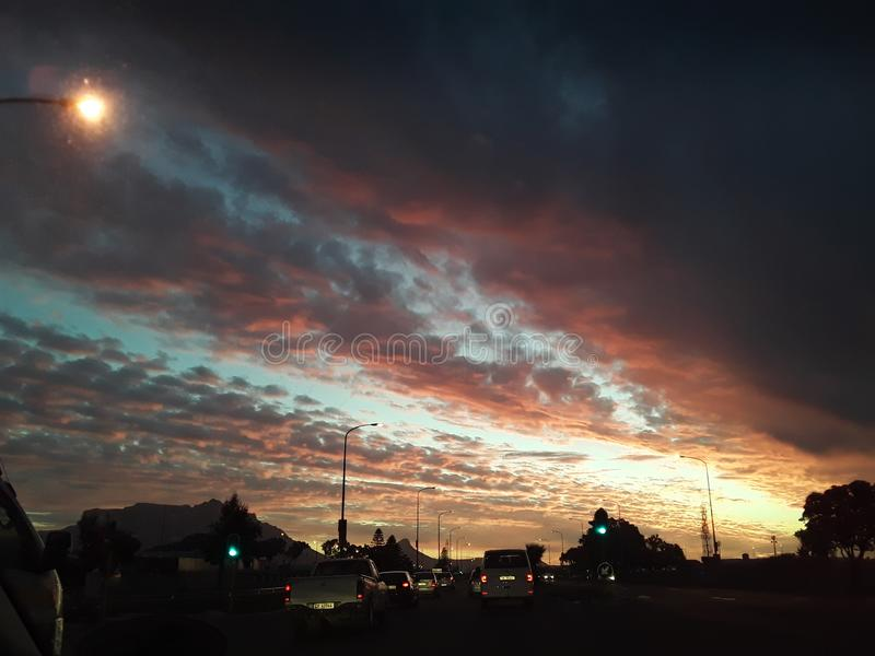 Schöner Cape Town-Sonnenuntergang stockfoto