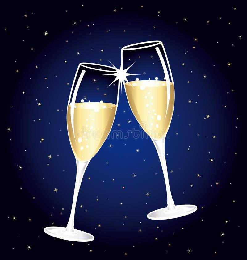 Schöner Champagnertoast auf einer sternenklaren Nacht. lizenzfreie abbildung