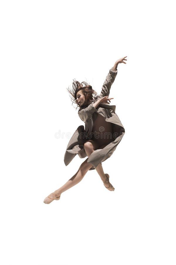 Schöner dünner junger weiblicher Balletttänzer der zeitgenössischen Art des modernen Jazz stockfotos