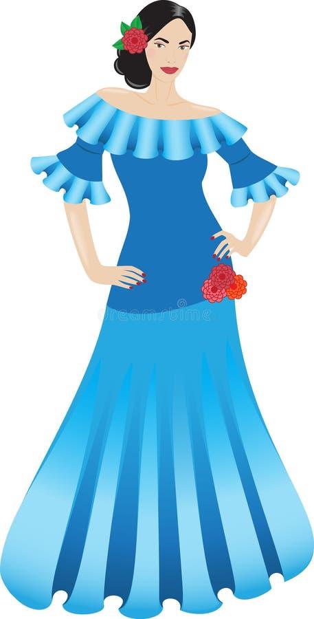 Schöner Tänzer im langen Kleid lizenzfreie stockfotografie