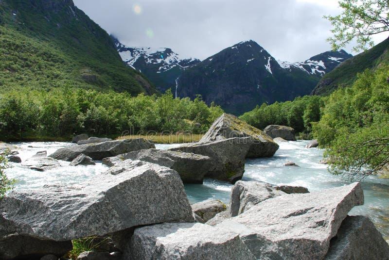 Schöner Fluss in Norwegen stockfotos