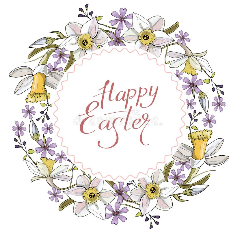 Schöner Frühlingskranz von Narzissen und von purpurroten Blumen auf einem weißen Hintergrund stock abbildung
