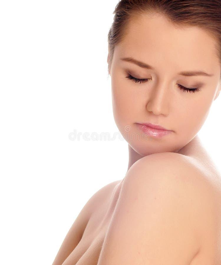 Schöner Frauenabschluß herauf Portrait stockfoto