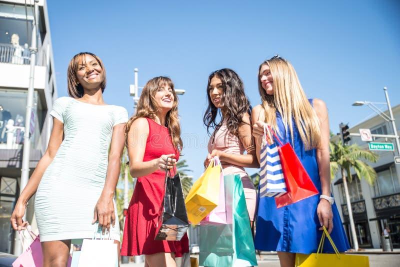 Schöner Fraueneinkauf lizenzfreie stockfotografie