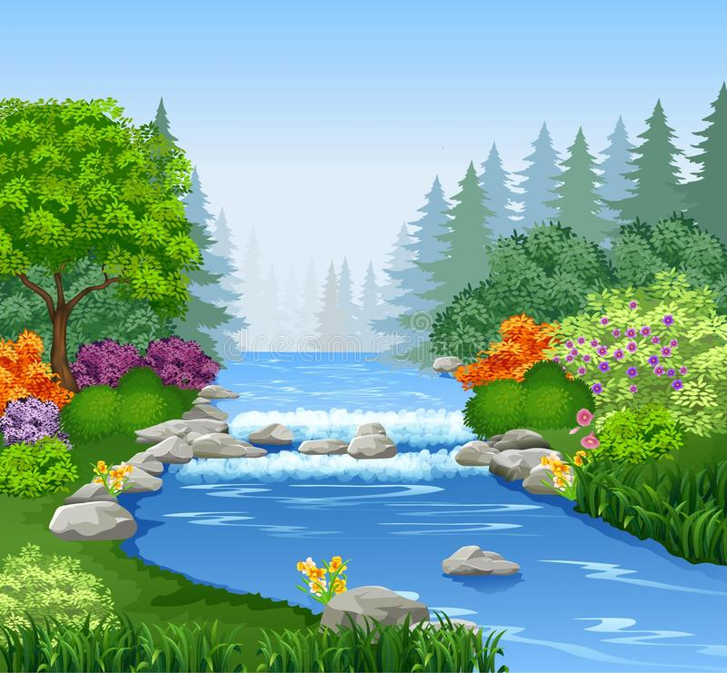 Schöner Gebirgsfluss im Wald lizenzfreie abbildung