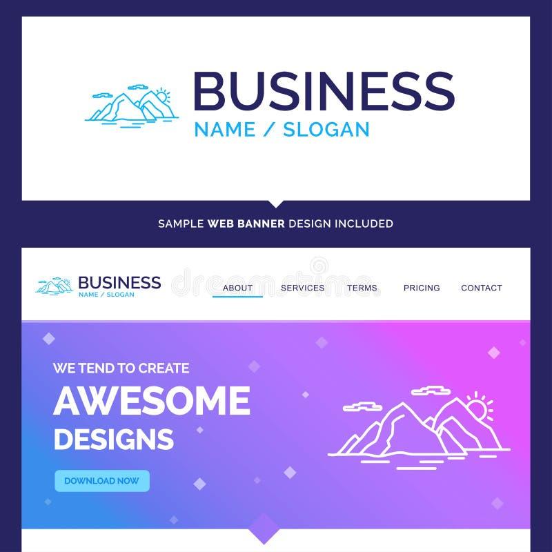 Schöner Geschäfts-Konzept-Markenname-Berg, Hügel, Landschaft lizenzfreie abbildung