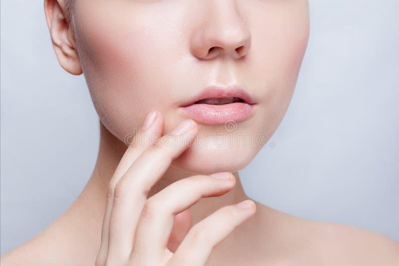 Schöner Gesichts-junge Frauen-sauberer neuer Hautabschluß oben lizenzfreie stockbilder