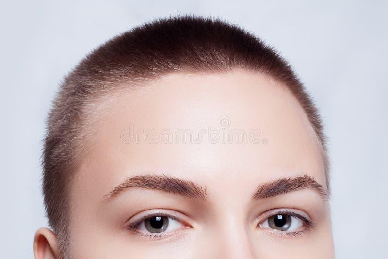 Schöner Gesichts-junge Frauen-sauberer neuer Hautabschluß oben stockfotos