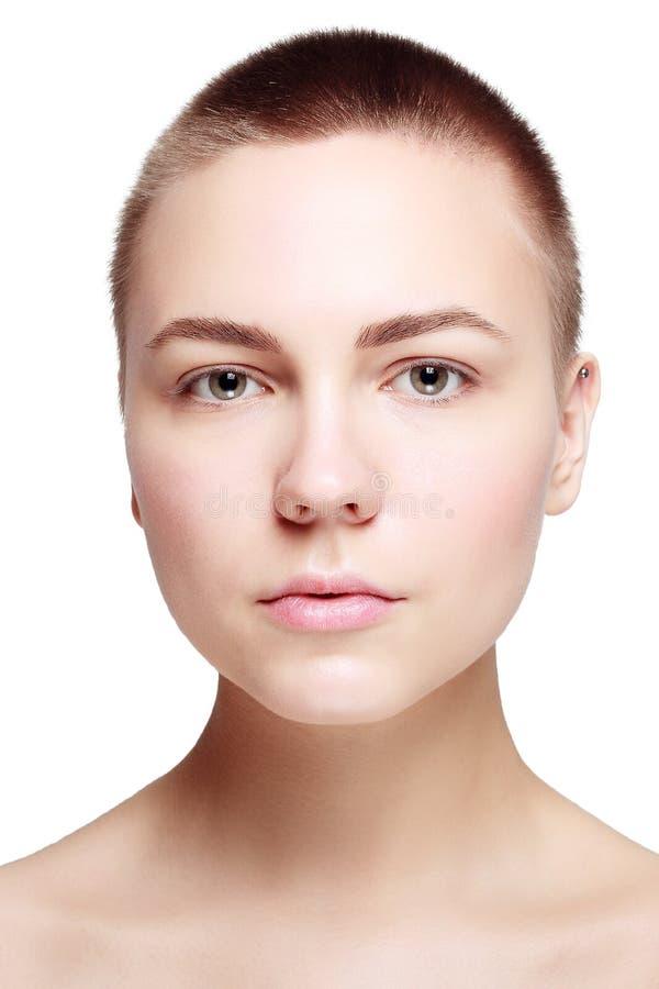 Schöner Gesichts-junge Frauen-sauberer neuer Hautabschluß oben lizenzfreies stockfoto