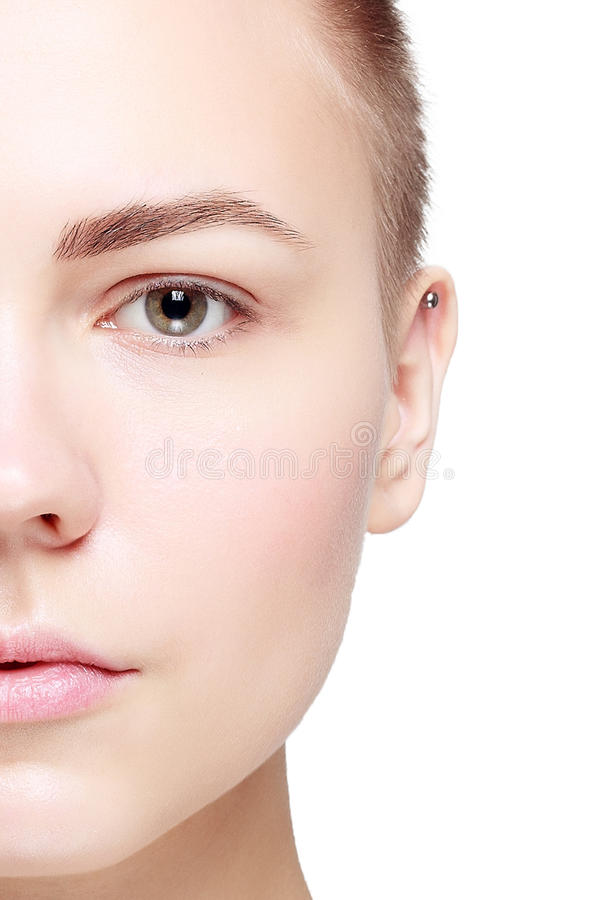 Schöner Gesichts-junge Frauen-sauberer neuer Hautabschluß oben lizenzfreie stockfotografie