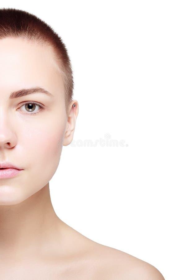 Schöner Gesichts-junge Frauen-sauberer neuer Hautabschluß oben lizenzfreies stockbild