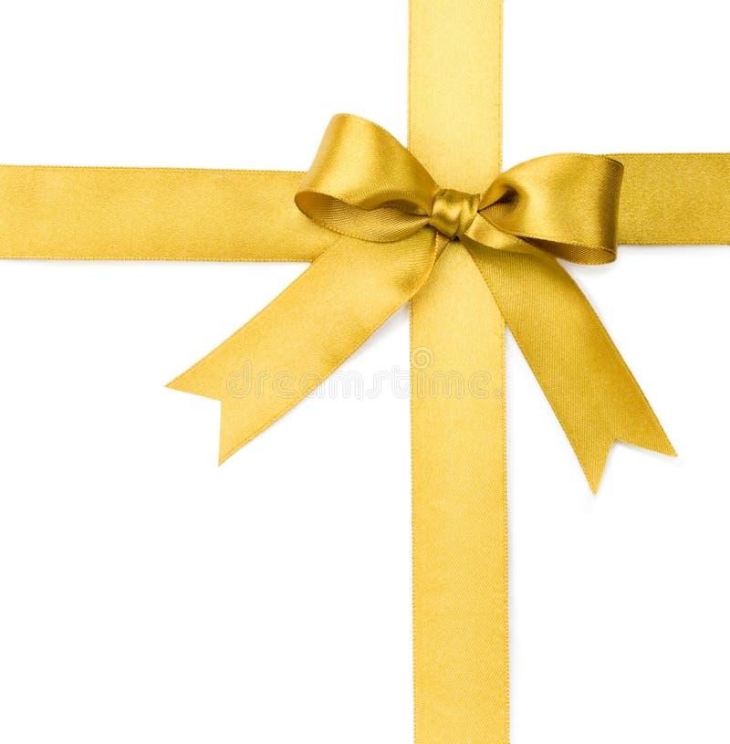 Schöner Goldbogen auf weißem Hintergrund lizenzfreie stockfotos