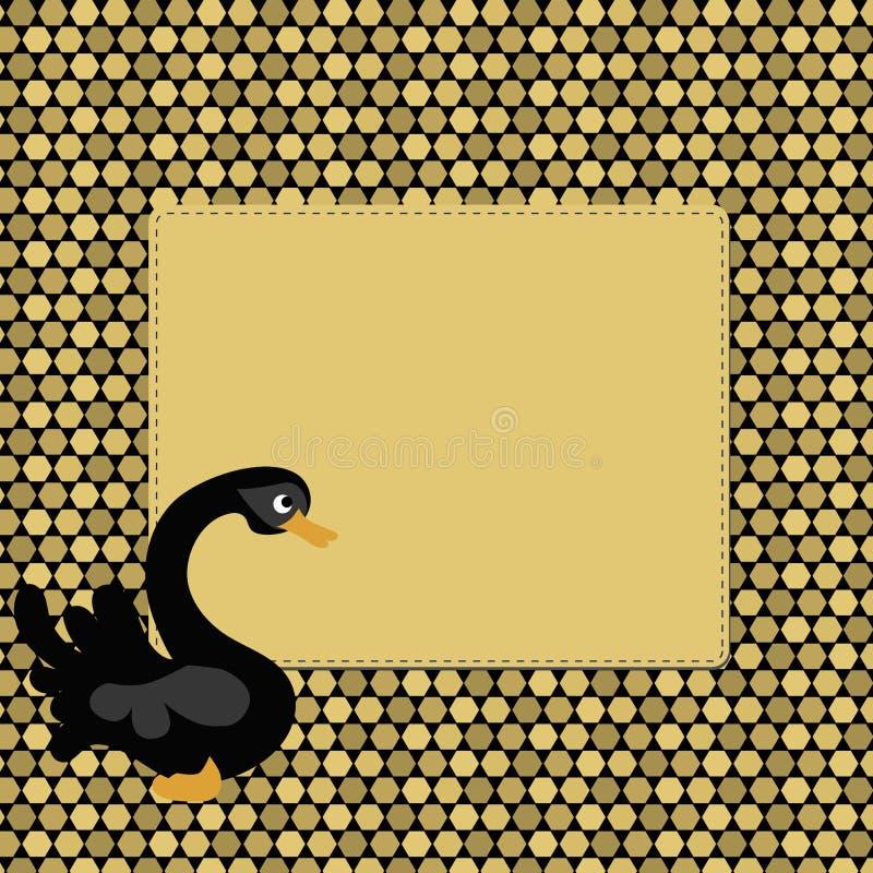 Schöner goldener Pixelhintergrundrahmen mit schwarzem Schwan stock abbildung