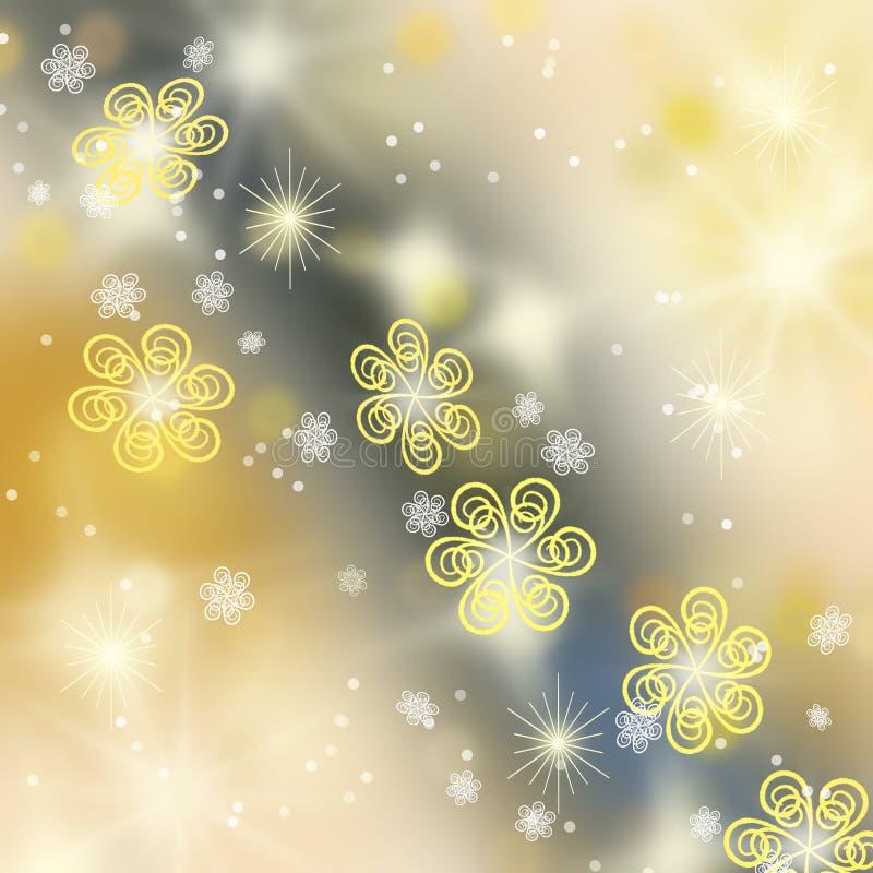 Schöner goldener Winterhintergrund mit Schneeflocken lizenzfreie stockfotografie