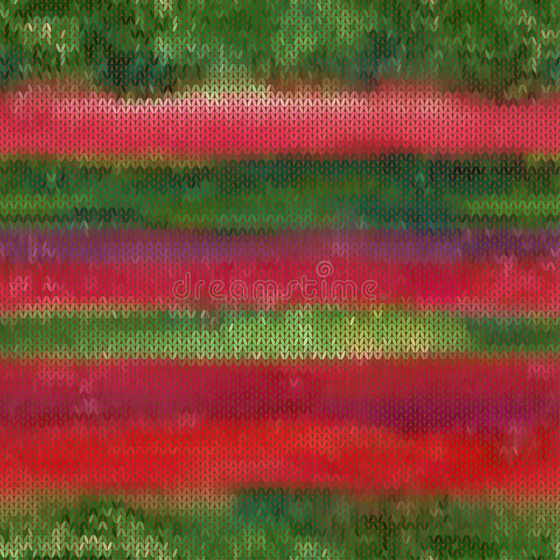 Schöner grüner nahtloser Vektor des Rotes und des gark strickte Muster lizenzfreie abbildung