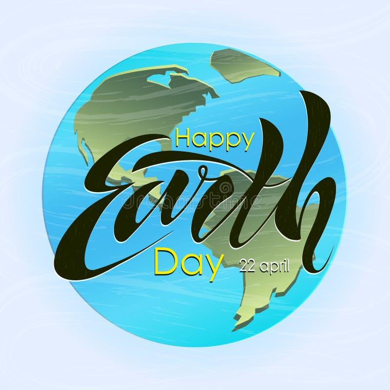 Schöner handgeschriebener Text, Kalligraphie, glücklichen Tag der Erde am 22. April auf einem strukturierten Hintergrund beschrif vektor abbildung