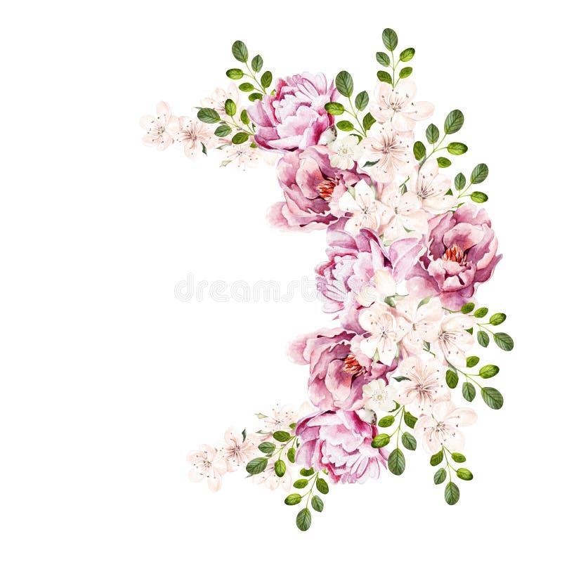 Schöner heller Aquarellblumenstrauß mit Pfingstrosenblumen stockfotos