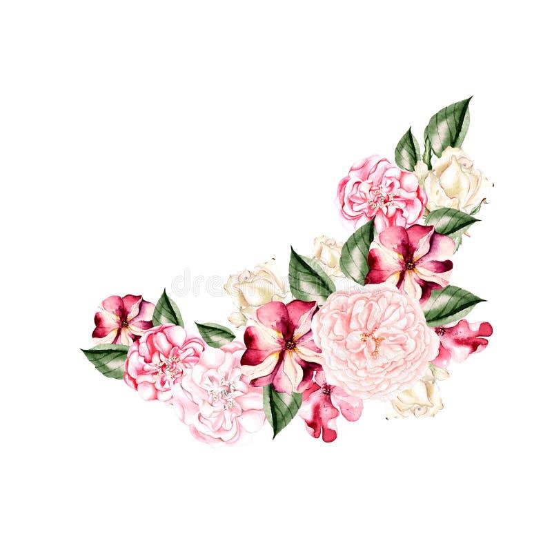 Schöner, heller Aquarellkranz mit Rosen und Petunie blüht lizenzfreie abbildung