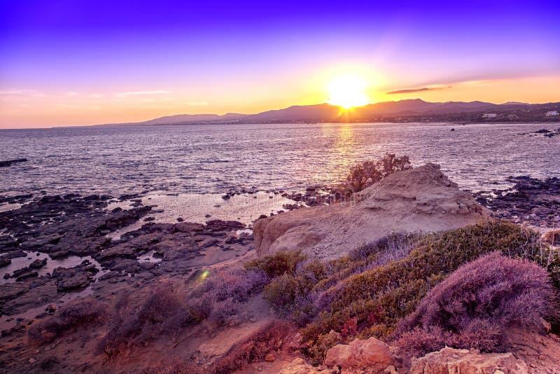 Schöner heller bunter Sonnenuntergang auf dem Seeufer stockbilder