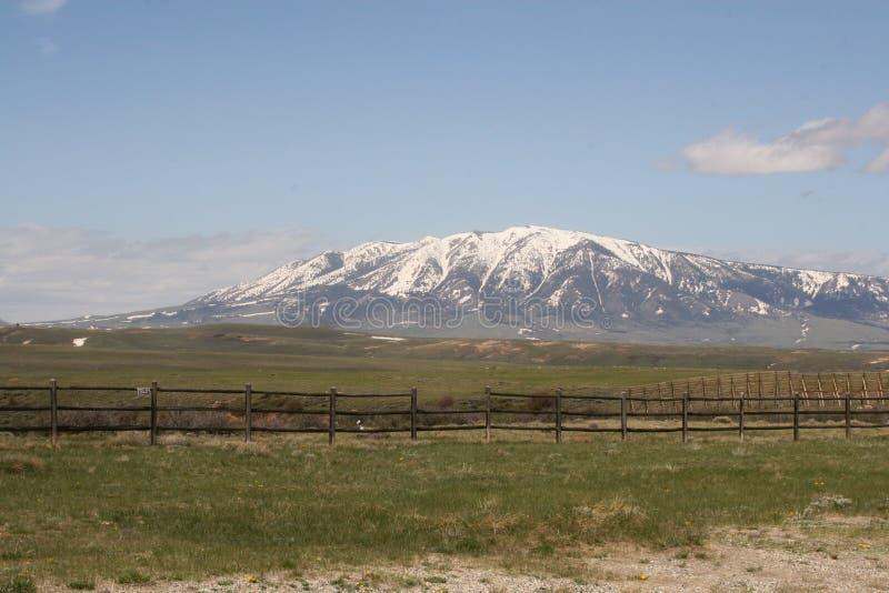 Schöner heller Tag mit Schnee umfasste Berge und Grün grasartige fileds mit einem Palisadenzaun und einem Ackerland lizenzfreie stockfotografie