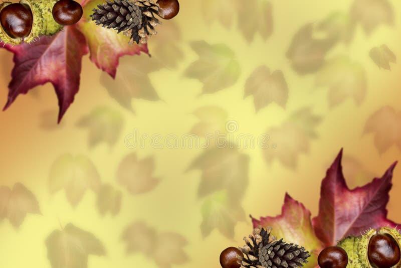 Schöner Herbsthintergrund mit Blattrahmen stockbilder