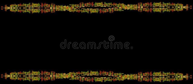 Schöner Herbstlaubrahmen auf schwarzem Hintergrund lizenzfreie abbildung