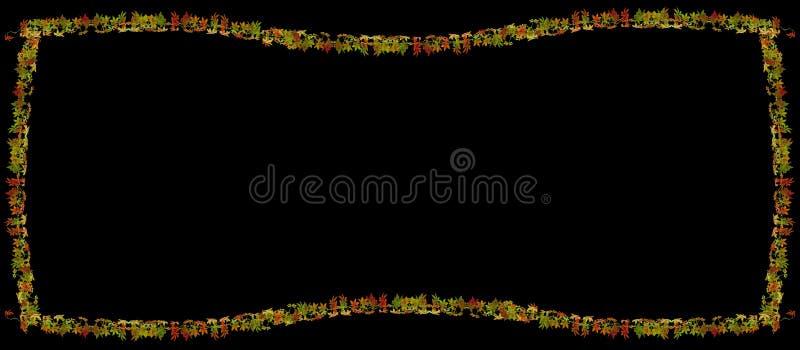 Schöner Herbstlaubrahmen auf schwarzem Hintergrund vektor abbildung