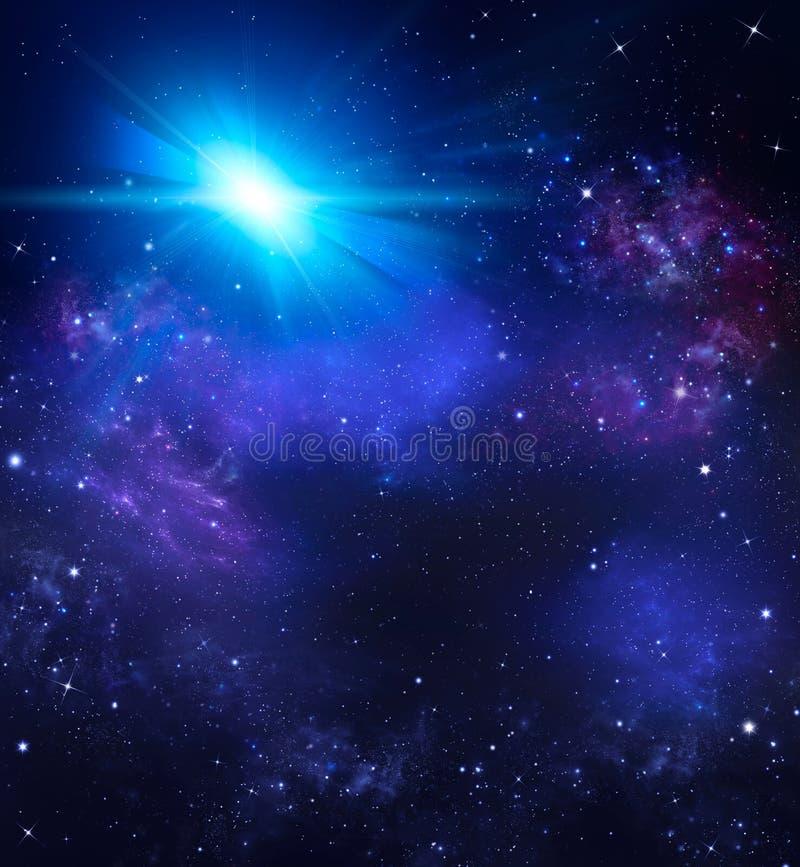 Schöner Hintergrund des nächtlichen Himmels mit Sternen vektor abbildung