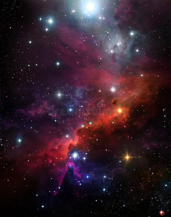 Schöner Hintergrund des sternenklaren Himmels, bunter Nebelfleck, Sternli stock abbildung