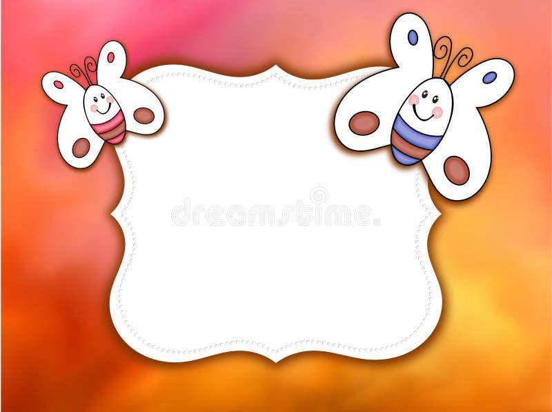 Schöner Hintergrund mit cartooned Schmetterlingen und Weißaufkleber für Text oder Foto stock abbildung