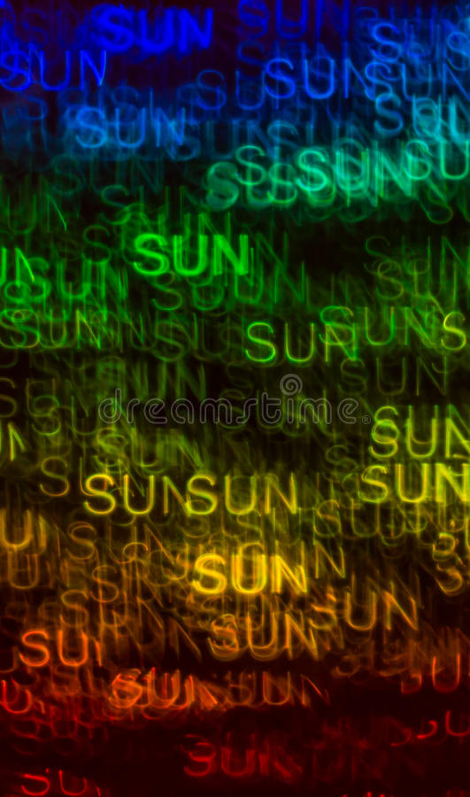 Schöner Hintergrund mit unterschiedlicher farbiger Wortsonne, abstraktes b stockfoto