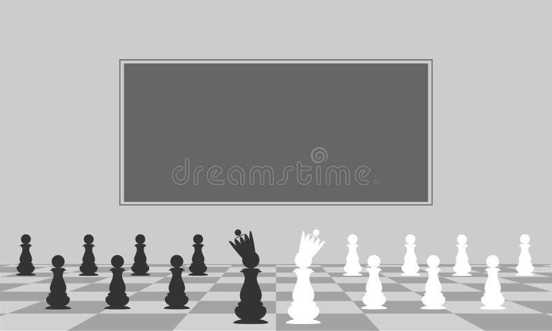Schöner Hintergrund, Schwarzweiss-Pfand Pfand mit einer Krone Vektor lizenzfreie abbildung