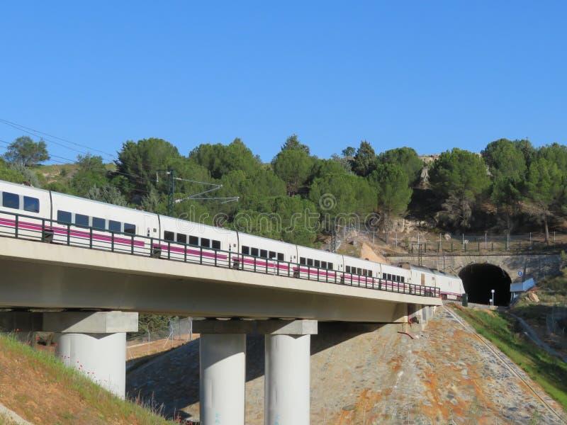 Schöner Hochgeschwindigkeitszug, der Passagiere zu ihrem Bestimmungsort transportiert lizenzfreie stockbilder