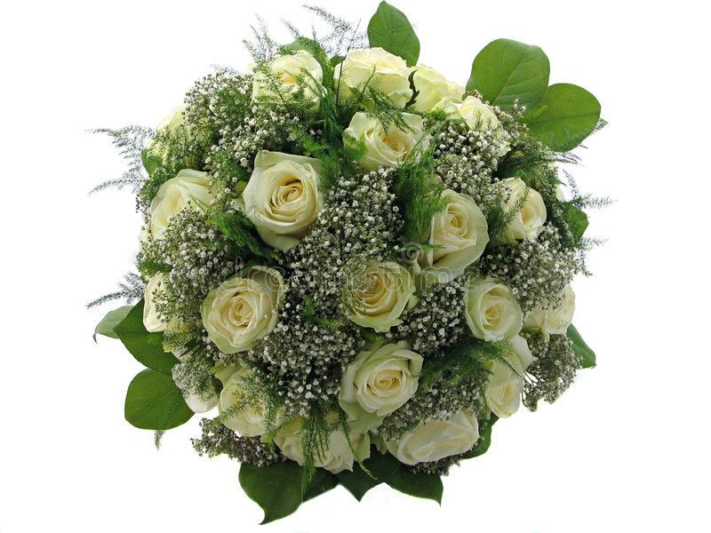 Schöner Hochzeitsblumenstrauß Getrennt Auf Weiß Lizenzfreie Stockbilder