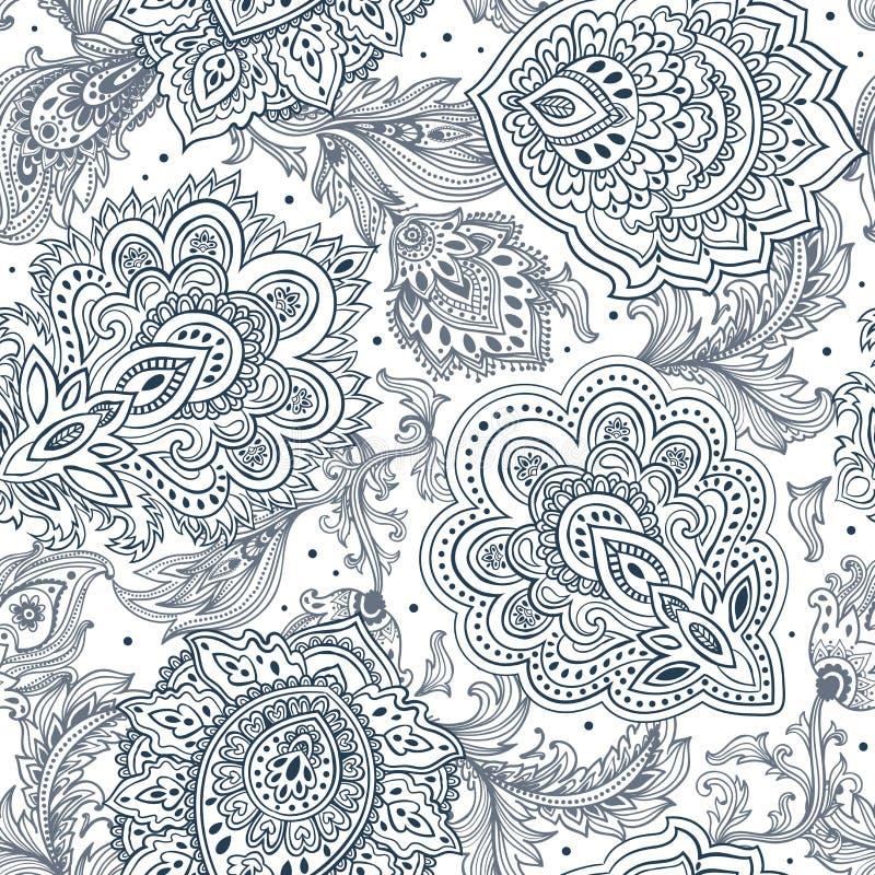 Schöner indischer Blumen-nahtloser Verzierungsdruck Paisleys ethnisch vektor abbildung