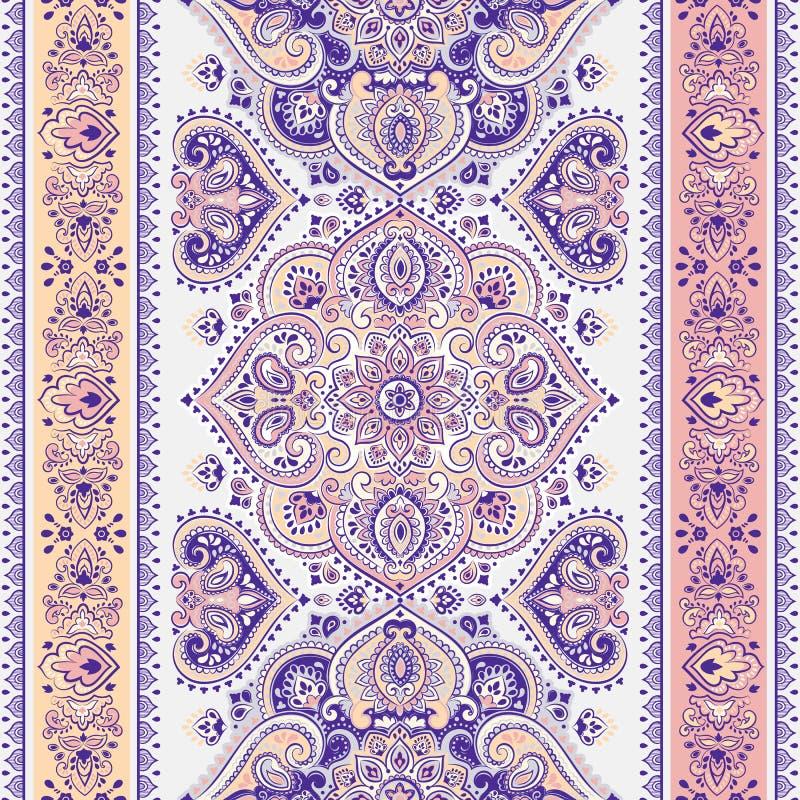 Schöner indischer Blumen-nahtloser Verzierungsdruck Paisleys ethnisch stock abbildung