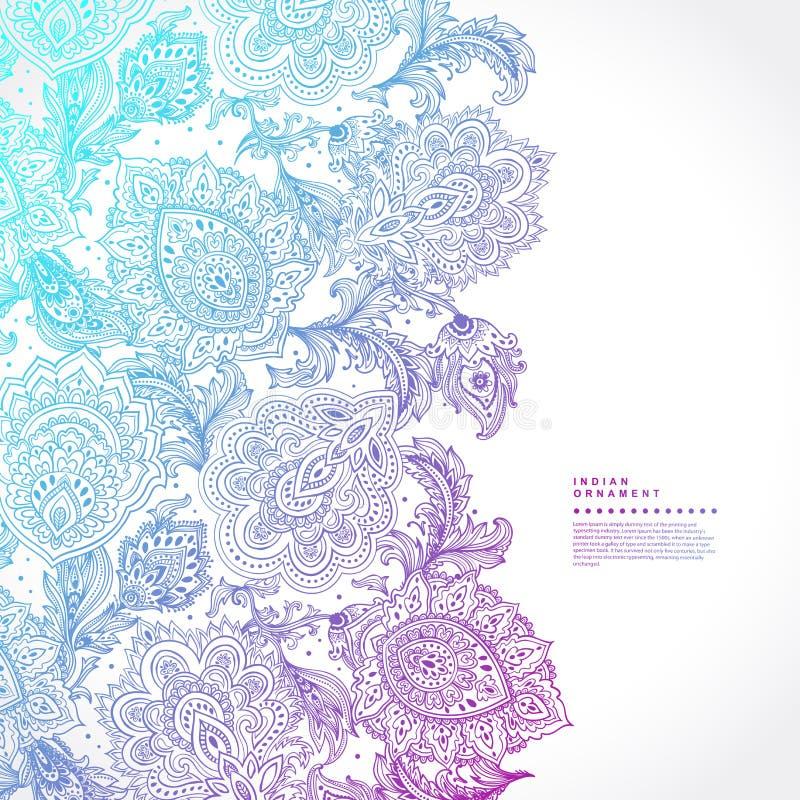 Schöner indischer Blumen-nahtloser Verzierungsdruck Paisleys ethnisch lizenzfreie abbildung