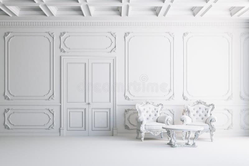 schöner Innenraum der Weinlese 3d mit Lehnsesseln und Tabelle vektor abbildung