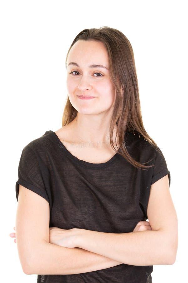Schöner Jugendlicher, der Kamera betrachtet Attraktives Mädchenstudioporträt der jungen Frau gesundes stockfotografie