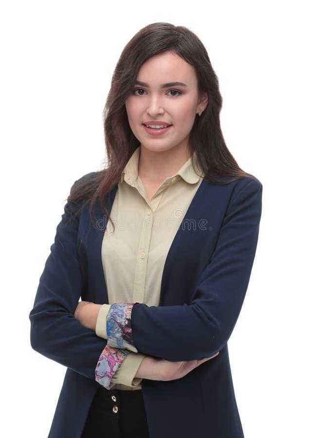 Schöner junger lokalisierter weißer Hintergrund der Geschäftsfrau lizenzfreie stockfotos
