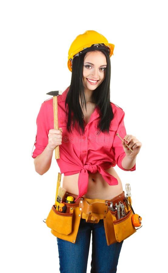 Schöner junger Mädchenerbauer Holdinghammer stockfotografie
