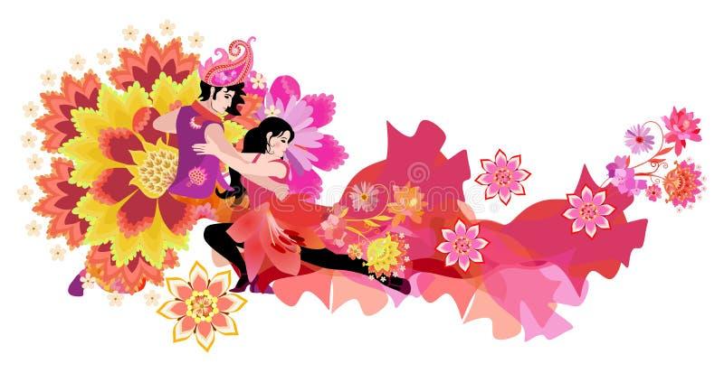 Schöner junger Mann in Ost-Kostüm und Mädchen in rotem Kleid, dekoriert Blumen, Tanztango isoliert auf weißem Hintergrund vektor abbildung