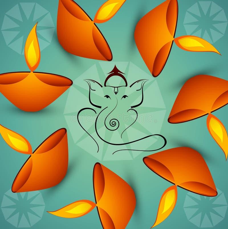 Schöner künstlerischer bunter Hindu Lord Ganesha lizenzfreie abbildung