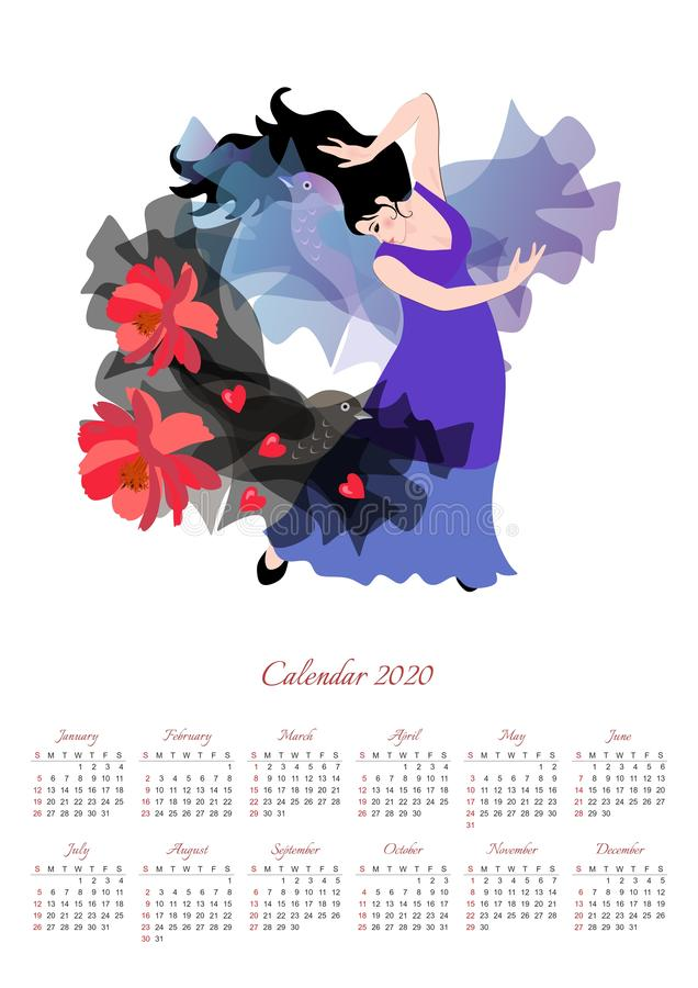 Schöner Kalender für 2020 Jahr mit Illustration mit Mädchen in einem langen lila Kleid tanzen Flamenco mit einem schwarzen Schal stock abbildung