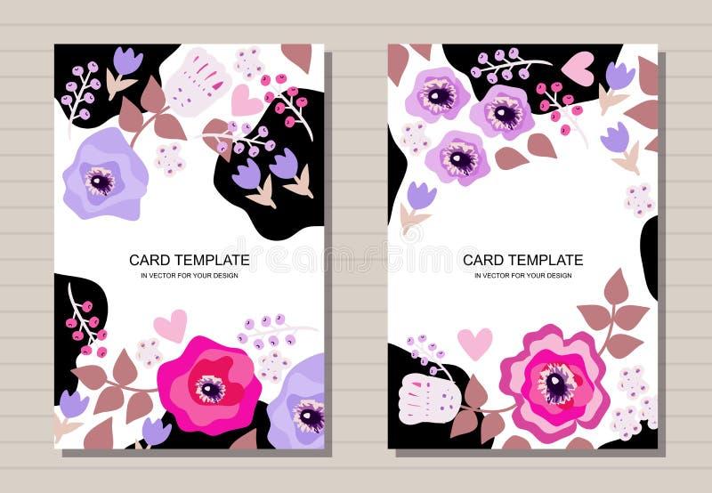 Schöner Kartenentwurf mit Blumen Kreative Schablone für Einladung, Grußkarten, Plakat, Flieger, Broschüre lizenzfreie abbildung