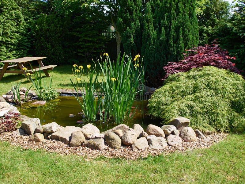 Schöner klassischer Gartenarbeithintergrund des Gartenfischteichs lizenzfreies stockfoto