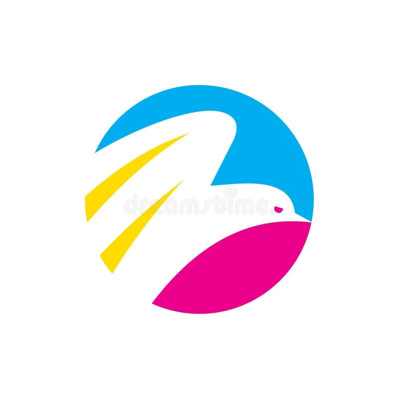 Schöner Kreis-Fliegen-Vogel, der Art Logo Icon druckt stock abbildung