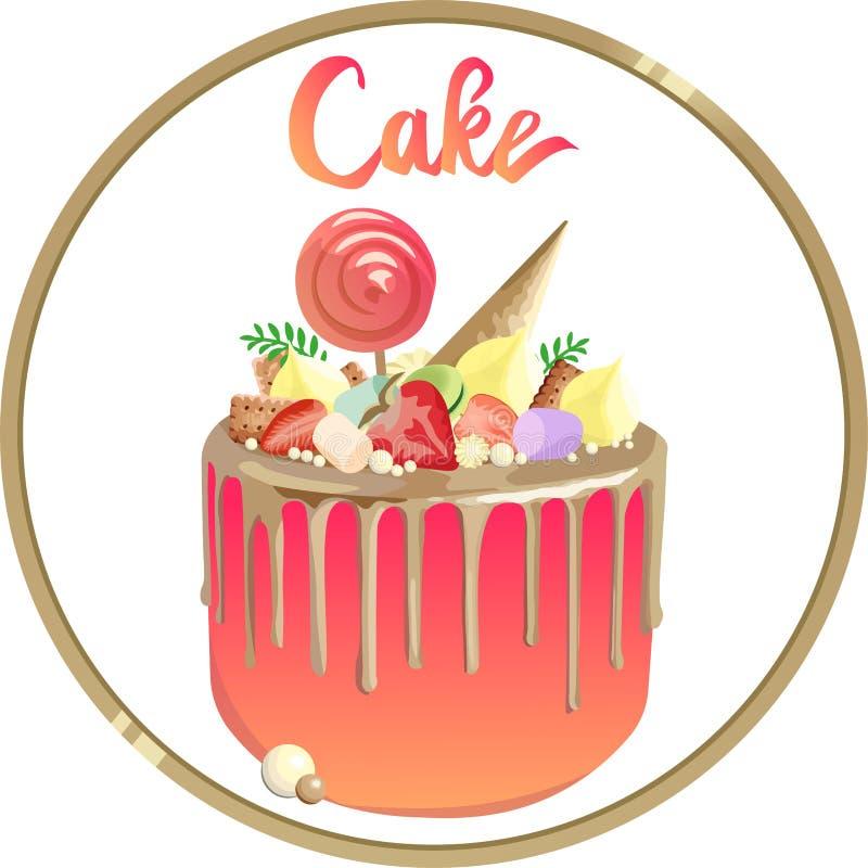 Schöner Kuchen mit Goldbelägen und rosa Creme Logo für Bäckerei stock abbildung