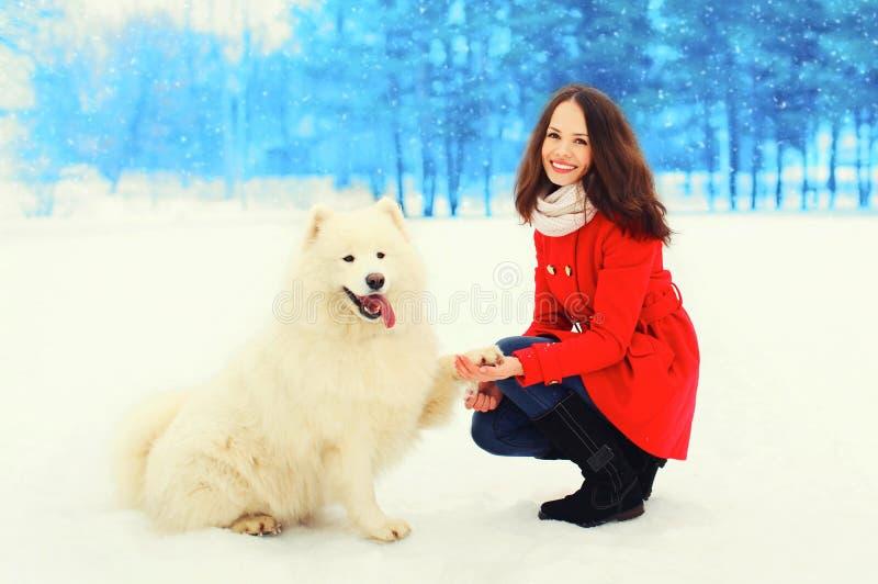 Schöner lächelnder Eigentümer der jungen Frau mit weißem Samoyedhundewinter stockfoto